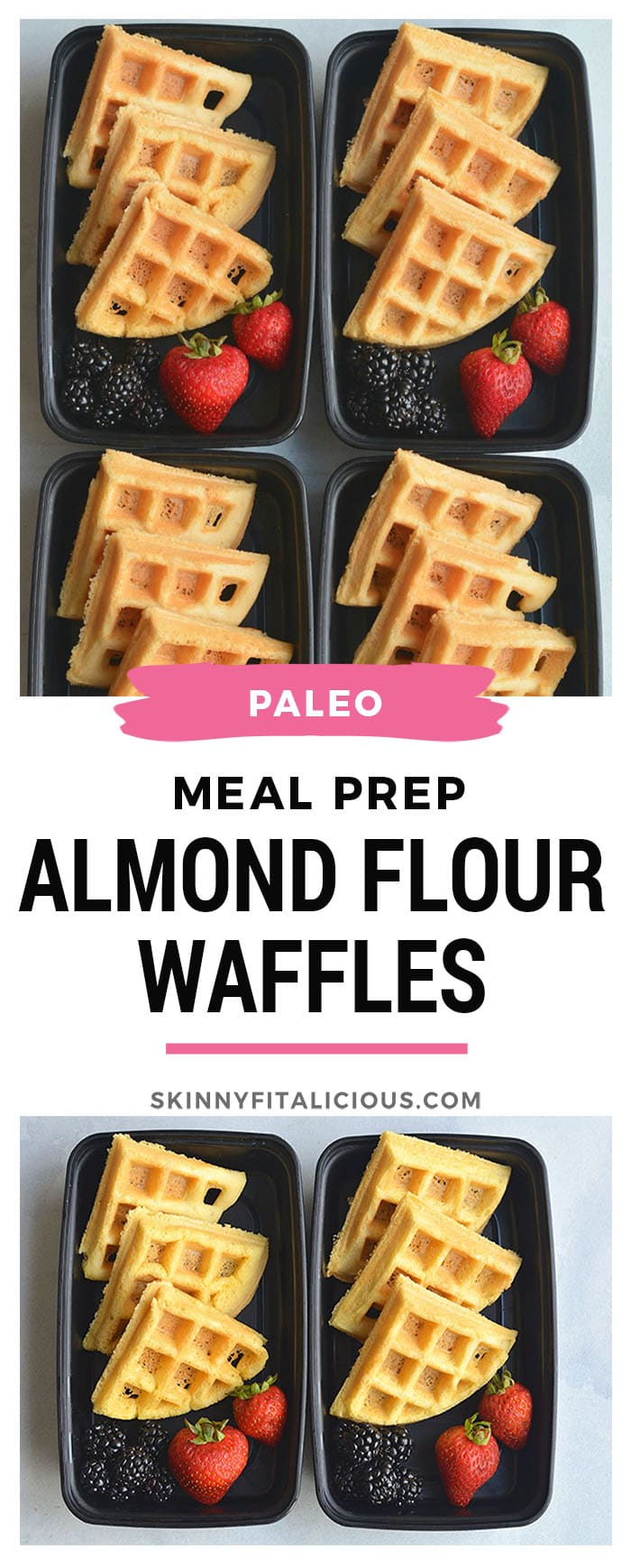 Meal Prep Almond Flour Waffles are a breeze to make and rich in protein. Easy to make light and fluffy with a few healthy, dairy free ingredients. Great for an easy breakfast meal prep and freezable too! Paleo + Gluten Free
