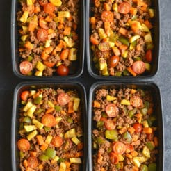 Meal Prep Chorizo Sweet Potato Breakfast Hash! This egg free hash is loaded with vegetables, flavor, & nourishment. A filling Whole30 breakfast that strikes the perfect balance of sweet & savory! Paleo + Gluten Free + Low Calorie + Low Carb