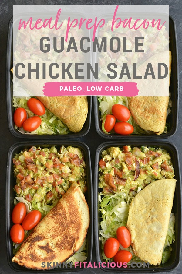 Meal Prep Bacon Guacamole Chicken Salad! Made with chicken, guacamole and bacon, this is low carb salad is perfect for an easy lunch. Pair with lettuce and your favorite low carb tortilla for a quick and easy meal prep. Lunch doesn't get any easier or more delicious than this! Paleo + Low Carb + Gluten Free