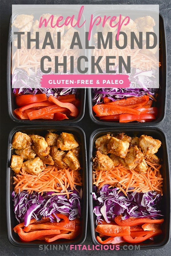 Meal Prep Thai Almond Chicken! Packed with flavor and nourishment, this meal prep recipe is quick to make and filling. Made in 30 minutes, you will love this creamy, Thai flavored chicken. Paleo + Low Calorie + Gluten Free