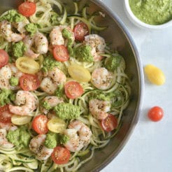 Shrimp Pesto Zucchini Noodles {Low Carb, GF, Paleo, Low Cal}