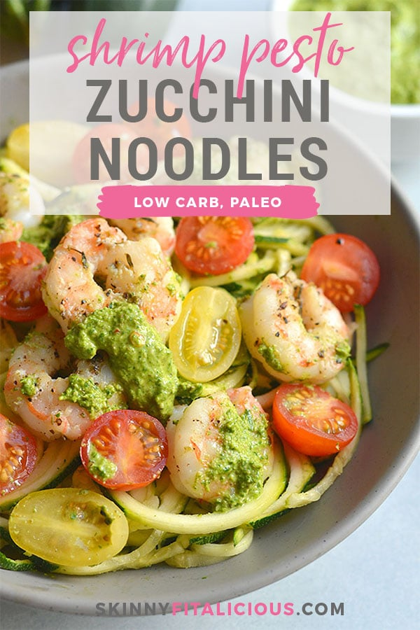 Shrimp Pesto Zucchini Noodles! Traditional spaghetti is replaced with low carb zucchini noodles. A lighter and healthier spin on spaghetti paired with skillet baked shrimp and homemade spinach walnut pesto. High in protein and healthy fat, this easy 30-minute meal is perfect for a quick lunch or dinner. Low Carb + Paleo + Gluten Free + Low Calorie
