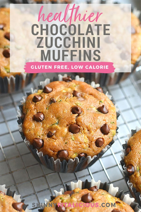 These Healthier Chocolate Chip Zucchini Muffins are dairy free, made with real food ingredients and are lighter and healthier. A gluten free snack you can't resist! Perfect for post workout, breakfast or a snack! Gluten Free + Low Calorie