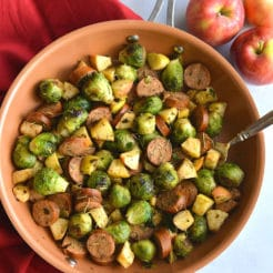 Apple Sausage Brussels Sprouts Hash {Paleo, GF, Low Cal}