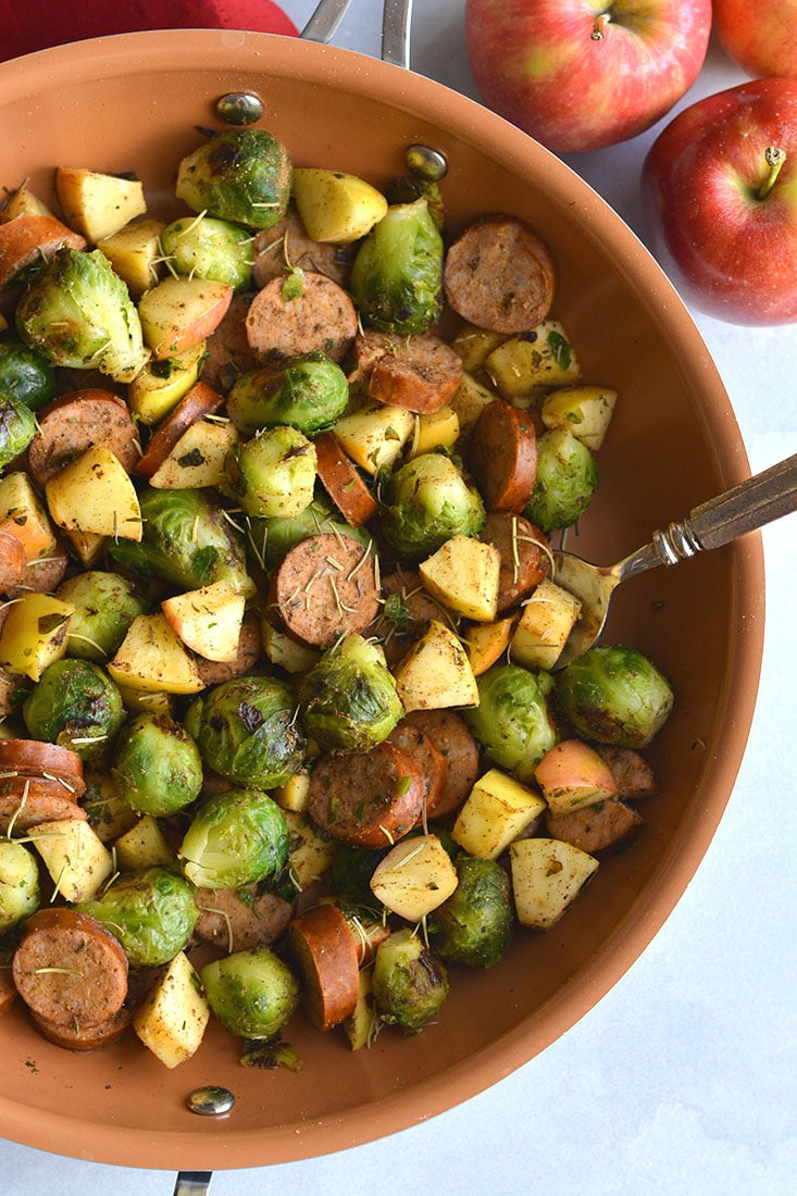 Paleo Apple Sausage Brussels Sprouts Hash! The perfect sweet and savory meal made with simple ingredients and quick to cook. Doubles as breakfast or lunch. A great for meal prep recipe! Paleo + Gluten Free + Low Calorie