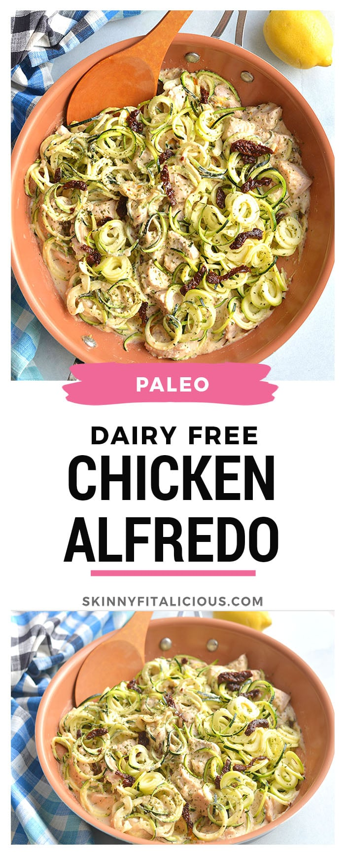 "This Dairy Free Chicken Alfredo Zucchini Noodles is a 30-minute healthy skillet meal. A low carb ""pasta"" dinner made with zucchini noodles and a cashew sauce. Gluten Free + Low Calorie + Paleo"