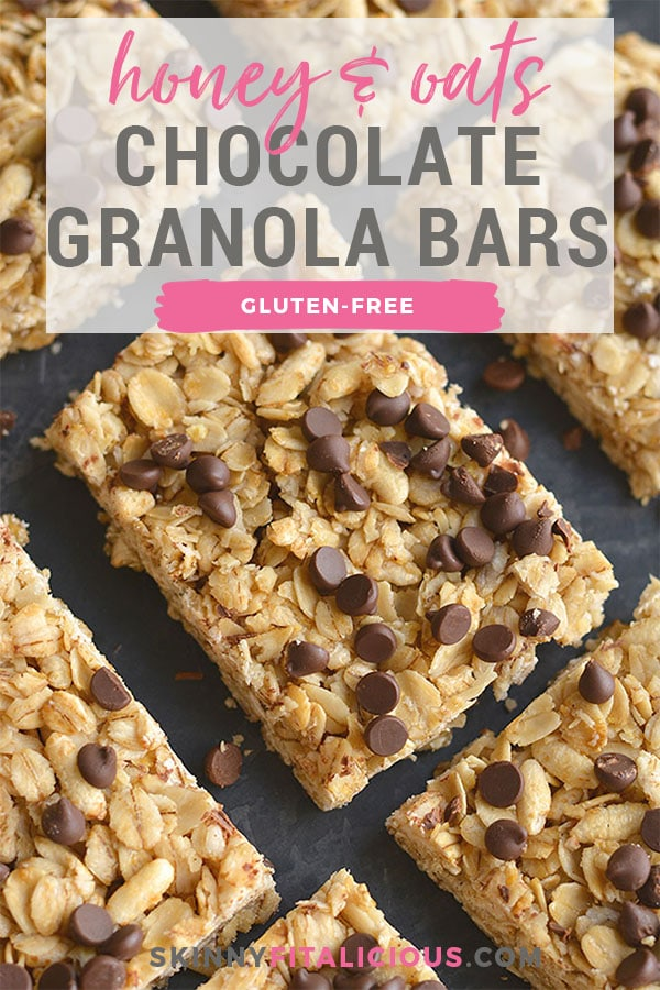 Honey Oats Chocolate Chip Granola Bars! Chewy granola bars made with recognizable ingredients and gluten free. An easy homemade snack or lunchbox treat!