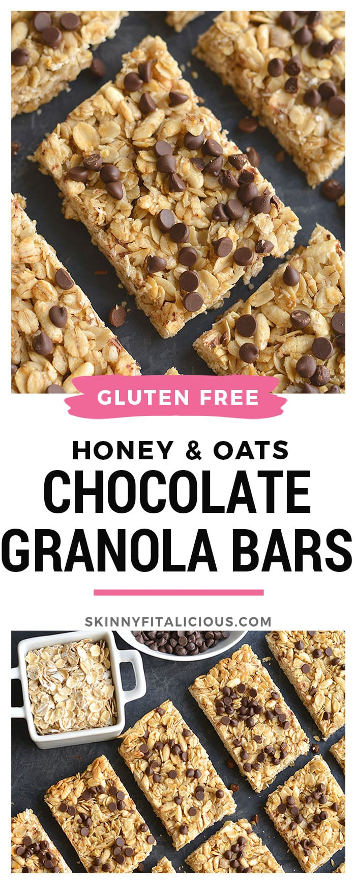 Honey Oats Chocolate Chip Granola Bars! Chewy granola bars made with recognizable ingredients and gluten free. An easy homemadesnack or lunchbox treat!