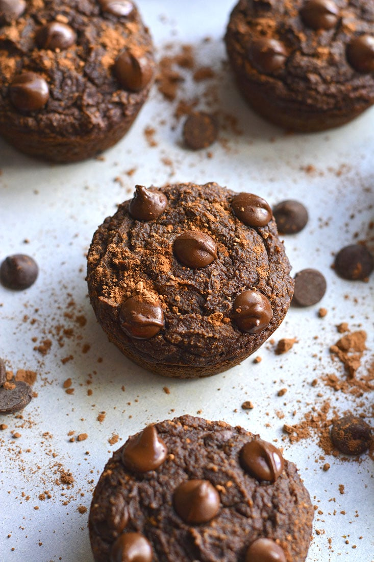 Chocolate Pumpkin Almond Flour Muffins! These muffins are Paleo, dairy-free and lightly sweetened with maple syrup. A great gluten free snack anytime of day! Paleo + Gluten Free + Low Calorie