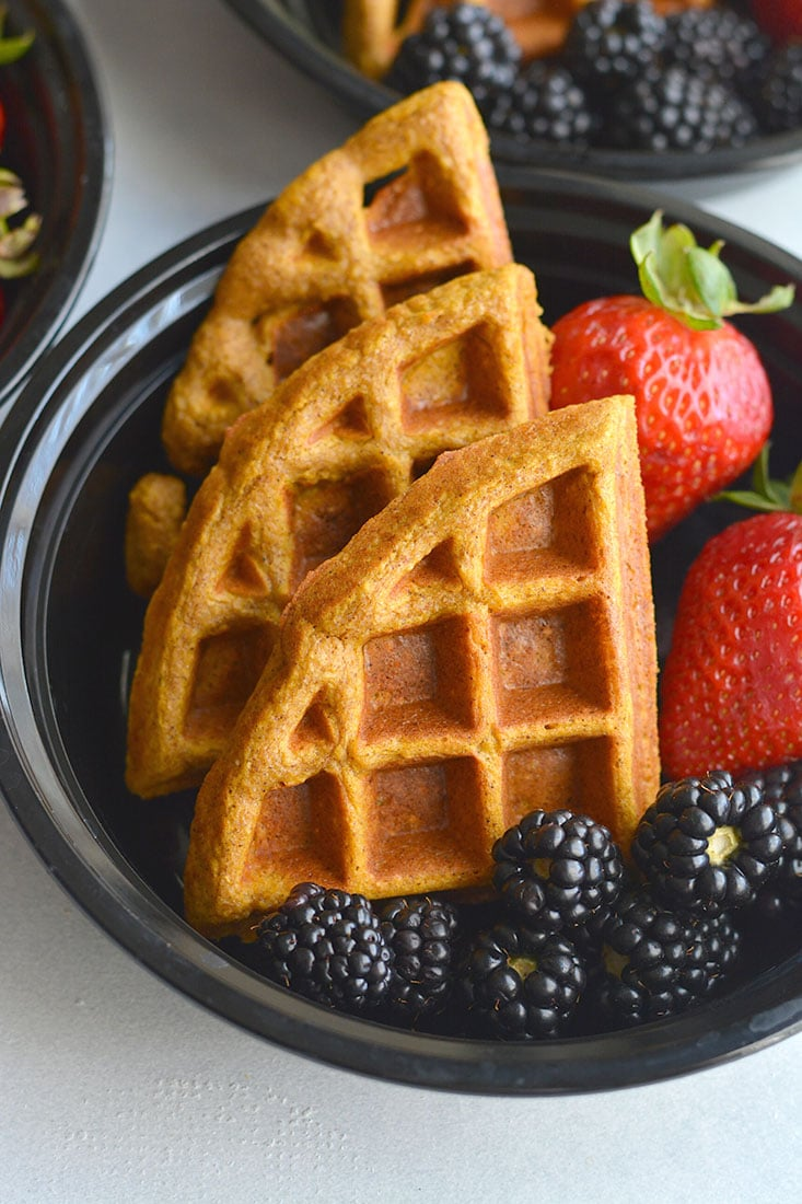 Whole Grain Pumpkin Spice Waffles! Freezer friendly, made with simple real food ingredients, perfect for breakfast meal prep or weekend brunch. Made dairy and gluten free with minimal added sugar. Gluten Free + Low Calorie