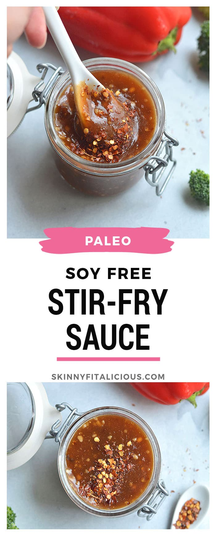This Soy Free Stir-Fry Sauce is low in sugar, gluten free and quick to make. Make it ahead of time and easily add it to any stir-fry recipe you for a quick and nourishing lunch ordinner. Vegan + Gluten Free + Low Calorie + Paleo