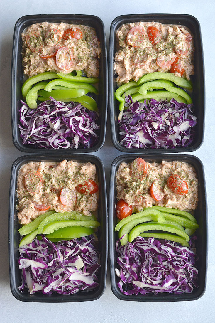 Meal Prep Tuna Taco Salad! Creamy, flavorful tuna mixed with veggies and taco seasoning. A 10 minute, no brainer meal prep that's high in protein and big onflavor. Gluten Free + Low Calorie