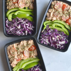 Meal Prep Tuna Taco Salad! Creamy, flavorful tuna mixed with veggies and taco seasoning. A 10 minute, no brainer meal prep that's high in protein and big on flavor. Gluten Free + Low Calorie