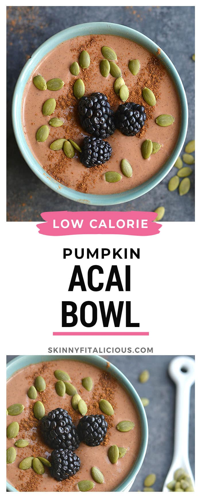 Pumpkin Acai Bowl! Get a taste of fall with a cool bowl loaded with creaminess and fall seasonings. A Gluten Free smoothie bowl that will leave you energized, nourished and full