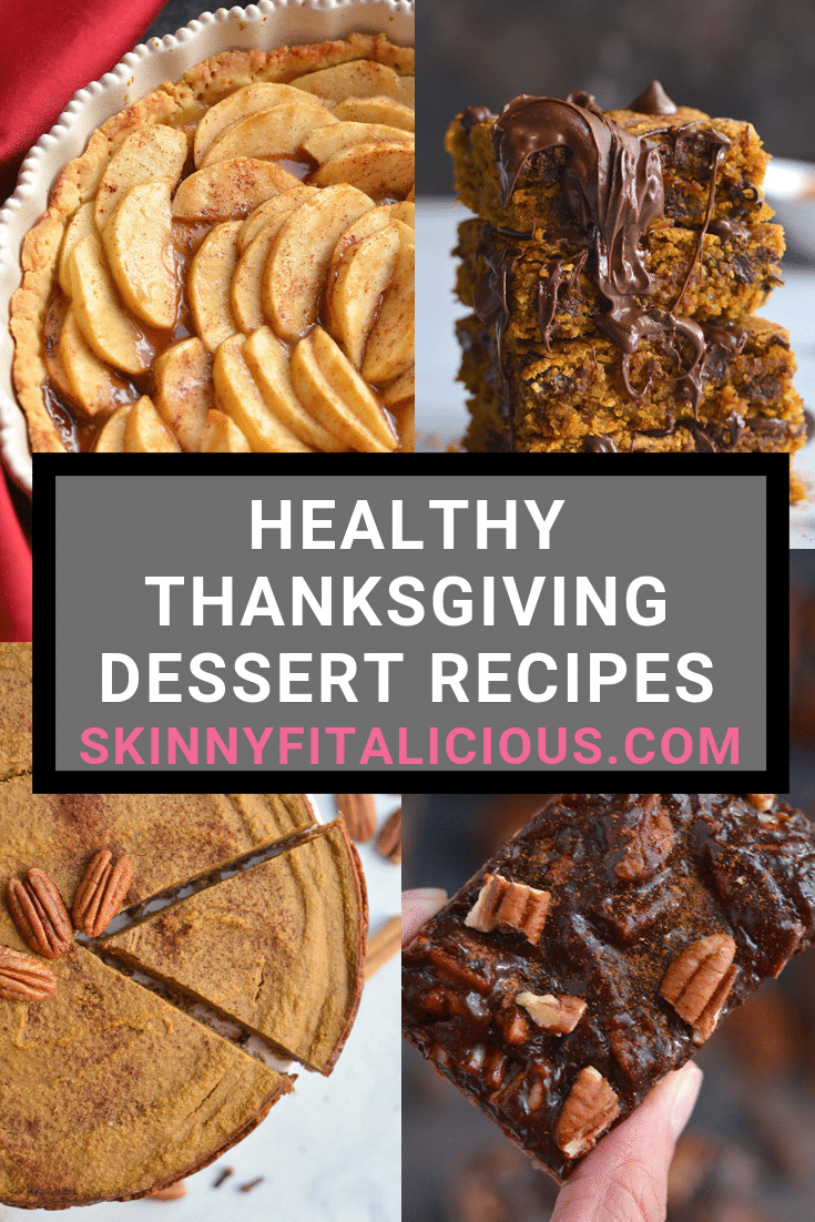 These Healthy Thanksgiving Dessert Recipes are gluten free, dairy free and many are lower in calories. Easy to make, delicious to eat and crowd pleasing!
