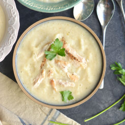 Creamy Chicken Cauliflower Soup is a healthy, dairy free recipe. A comforting bowl of this soup is sure to warm you up on a cool day. Made with a large dose of parsley for anti-inflammatory properties, this soup is also Paleo, Low Carb, Gluten Free and Low Calorie.