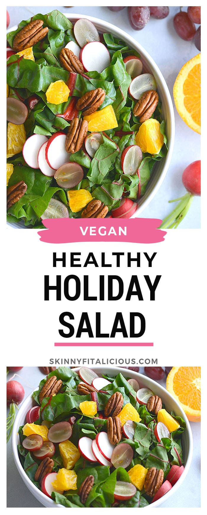 Healthy Holiday Salad! This colorful salad is packed with fresh produce and dressed with an anti-inflammatory turmeric apple cider vinegar dressing. A holiday side salad that's versatile and nutritious! Vegan + Paleo + Gluten Free + Low Calorie