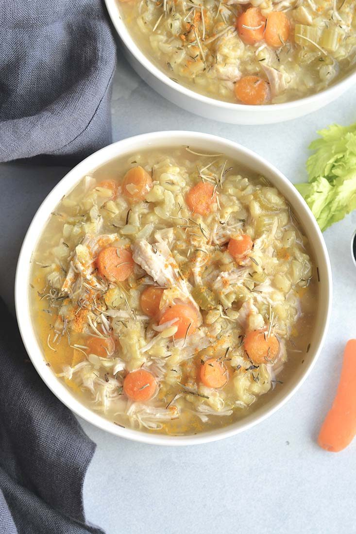 Instant Pot Turmeric Chicken Rice Soup is the best traditional soup made quicklyin a pressure cooker. It's light, wholesome and has an anti-inflammatory boost. A simple, healthy and nutritious meal.Gluten Free + Low Calorie