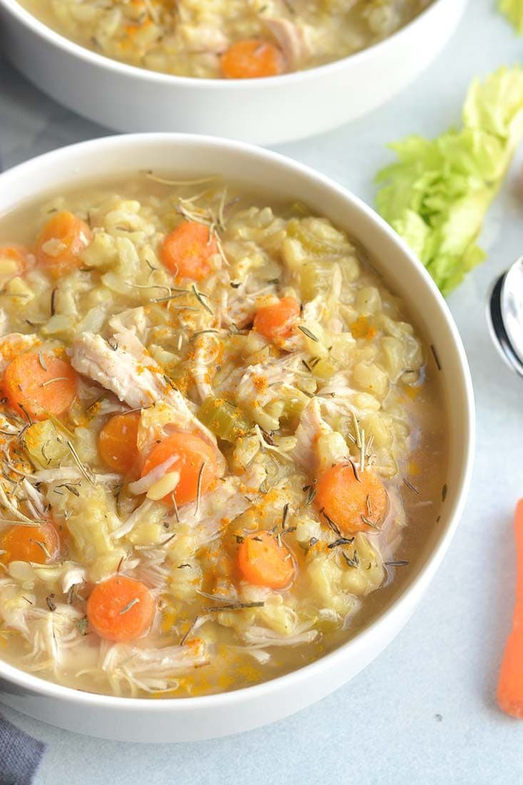 Instant Pot Turmeric Chicken Rice Soup is the best traditional soup made quickly in a pressure cooker. It's light, wholesome and has an anti-inflammatory boost. A simple, healthy and nutritious meal. Gluten Free + Low Calorie