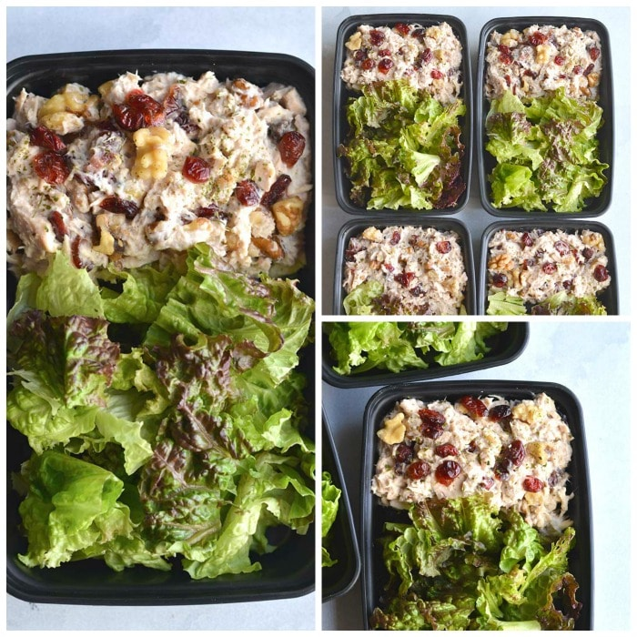 Meal Prep Cranberry Walnut Chicken Salad {GF, Low Cal