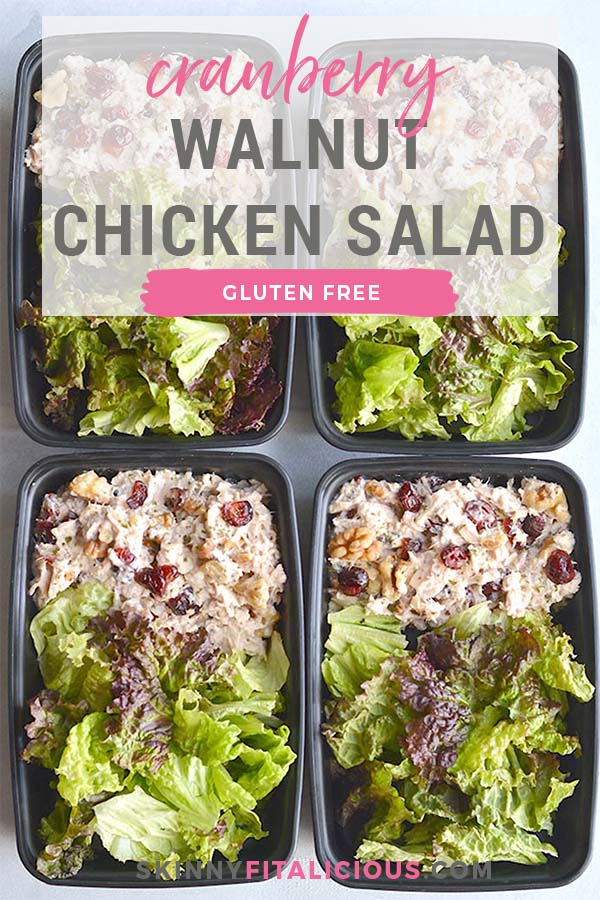 Meal Prep Cranberry Walnut Chicken Salad! A simple chicken salad that's healthy and packed with fall flavor. Rich in protein and fat to keep you full from lunch until dinner! Gluten Free + Low Calorie