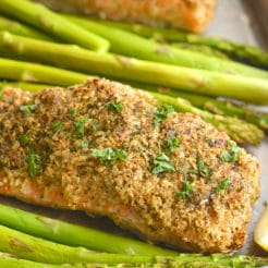 Crispy Oven Fried Salmon {Low Cal, GF}