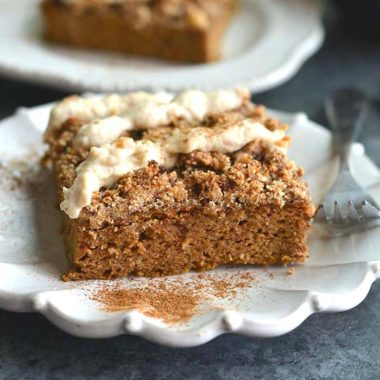 "Pumpkin Spice Coffee Cake with Cashew Cream Frosting! Made on a sheet pan, this lightly sweetened cake is filled with warm spices and topped with a cashew coconut ""cream"" frosting. A healthier dessert recipe! Paleo + Gluten Free"