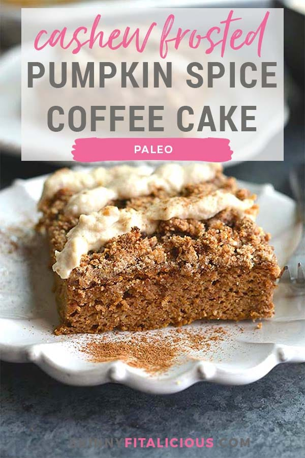 "Pumpkin Spice Coffee Cake with Cashew Cream Frosting! Made on a sheet pan, this lightly sweetened cake is filled with warm spices and topped with a cashew coconut ""cream"" frosting. A healthier dessert recipe!"