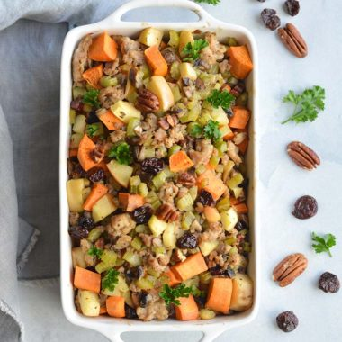 Paleo Thanksgiving Stuffing made grain free with a healthy twist. This holiday dish has the flavor of traditional stuffing without the grains. Easy to make and crowd pleasing! Paleo + Gluten Free + Low Calorie