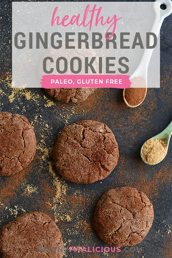 These Paleo Salted Gingerbread Cookies are flavored with molasses and warm spices. Lightly sweetened, they are a delicious addition to your holiday baking! Gluten Free + Paleo + Vegan