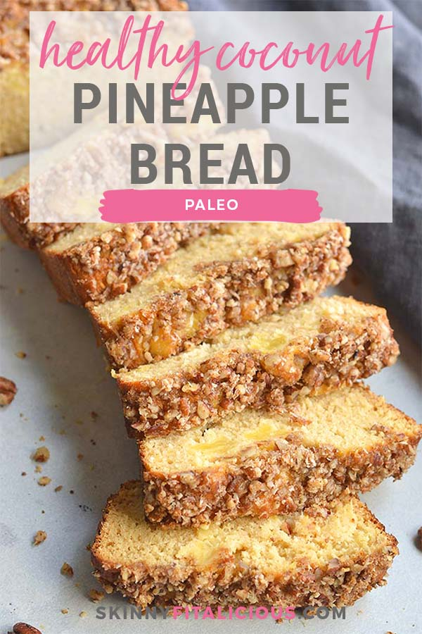 Healthy Coconut Pineapple Bread is a simple, wholesome Paleo breakfast or dessert. Pineapple chunks nestled in warm, baked bread with a sweet pecan topping. A homemade holiday gift to give for the holidays that's dairy-free and gluten-free.