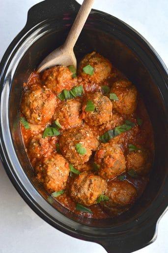 Crockpot Turkey Sausage Meatballs {GF, Low Carb, Low Cal}