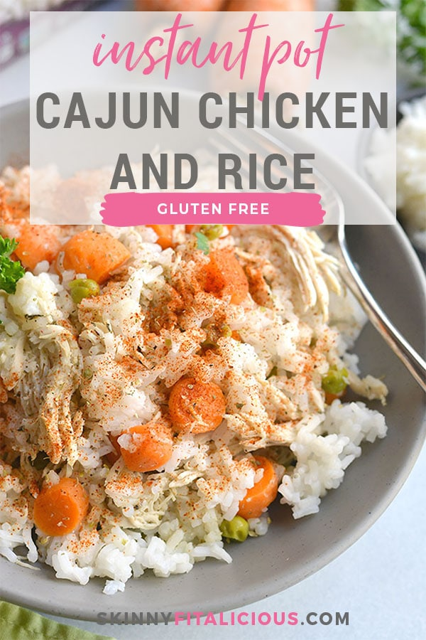 Instant Pot Cajun Chicken & Rice! Cajun flavors meet wholesome ingredients in this comforting dinner recipe. An easy, 30-minute meal for busy nights. Gluten Free + Low Calorie