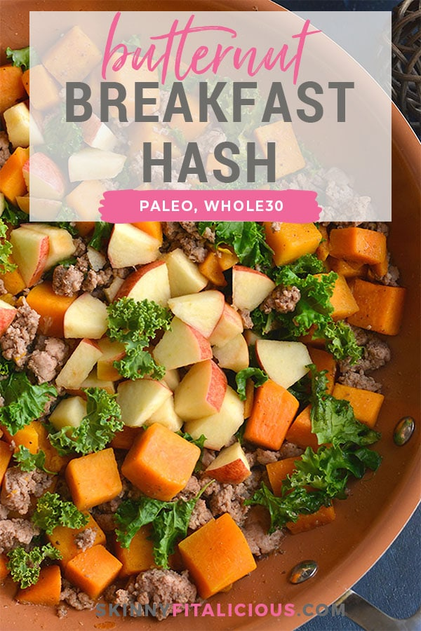 This Butternut Squash Breakfast Hash is loaded with nourishment and has the perfect balance of sweet and savory flavors. High protein, this is a delicious breakfast without the eggs! Whole30 + Paleo + Gluten Free + Low Calorie