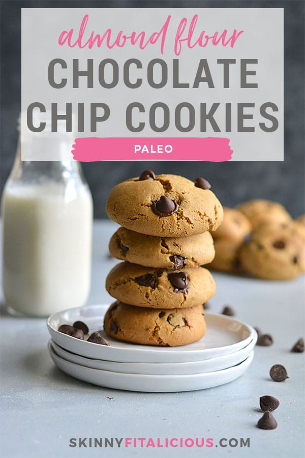 The best Almond Flour Chocolate Chip Cookies you'll ever eat! Made lighter and balanced in nutrition, this cookie recipe is easy to make and butter free. Soft, pillowy cookies! Paleo + Gluten Free