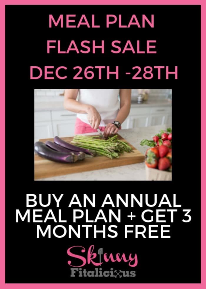 Skinny Fitalicious Meal Plans is having a FLASH SALE the next 3 days! From December 26th through 28th. Buy an annual plan and get 3 months extra FREE!