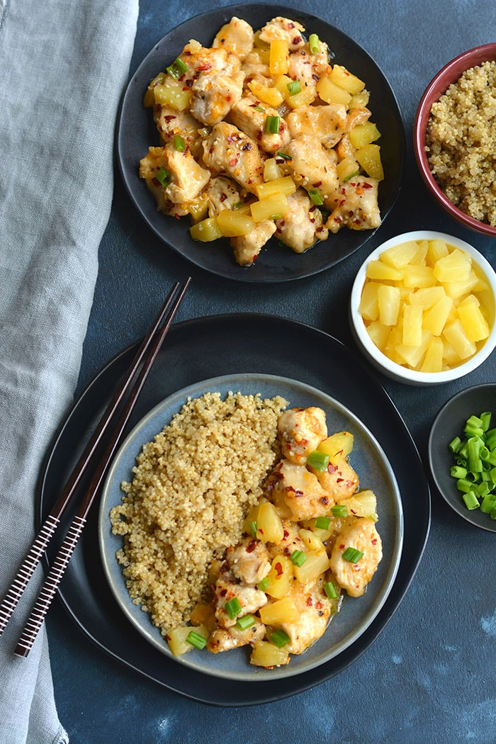 Pineapple Firecracker Chicken With Quinoa! This sweet and savory dish makes tender and moist chicken. Easy to make in a skillet and family approved! Gluten Free + Low Calorie