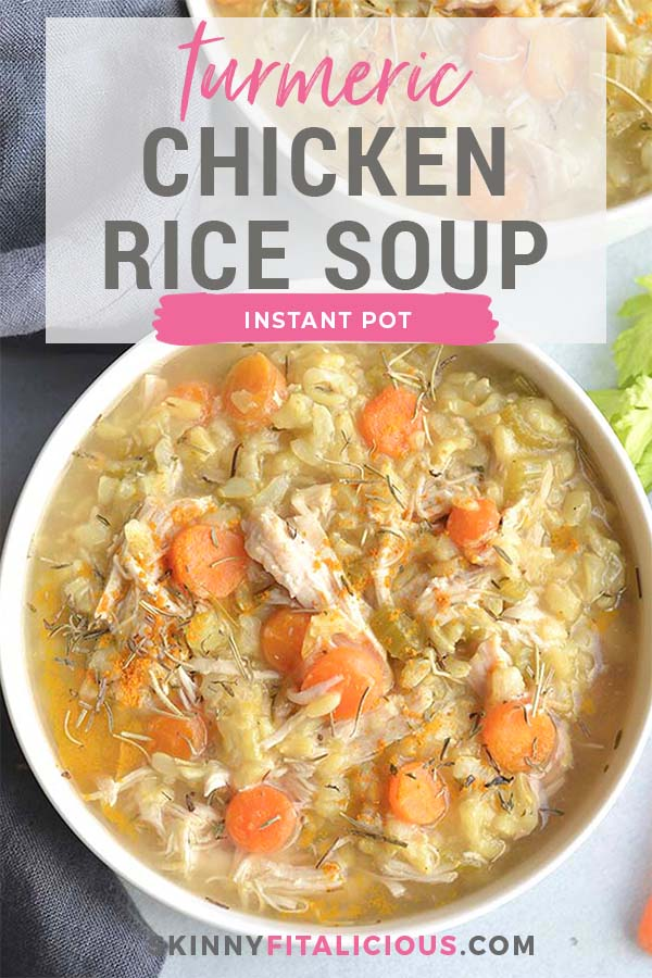 Instant Pot Turmeric Chicken Rice Soup is the best traditional soup made quickly in a pressure cooker. It's light, wholesome and has an anti-inflammatory boost. A simple, healthy and nutritious meal.