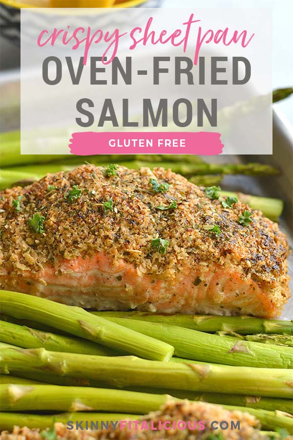Crispy Oven Fried Salmon! Salmon crusted with gluten free oats, parsley and parmesan and baked on a sheet pan to crispy perfection. An healthy, gluten free weeknight meal! Low Calorie + Gluten Free