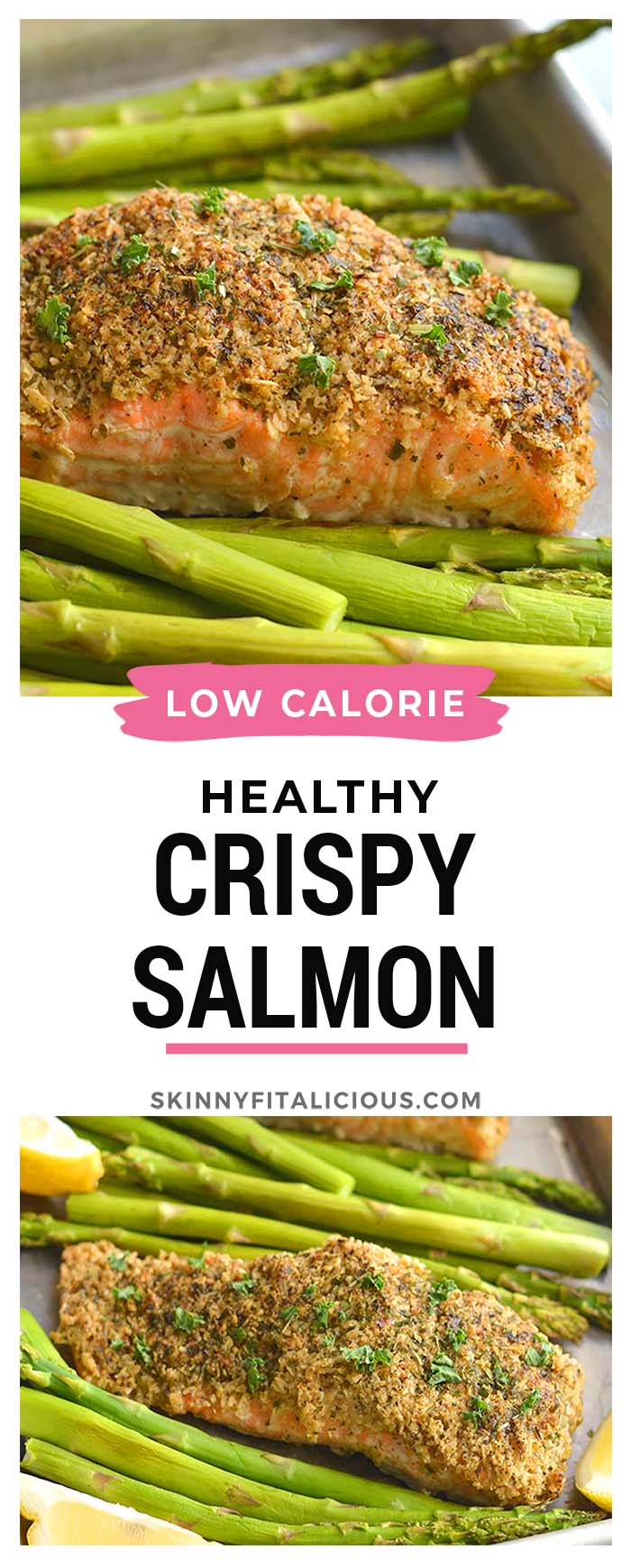 Crispy Oven Fried Salmon! Salmon crusted with gluten free oats, parsley and parmesan and baked on a sheet pan to crispy perfection. An healthy, gluten free weeknight meal!