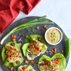 Healthy Thai Peanut Chicken Lettuce Wraps! Chili baked chicken served in lettuce wraps with a peanut buttter sauce. A light dinner or lunch that's easy! Gluten Free + Low Calorie + Low Carb