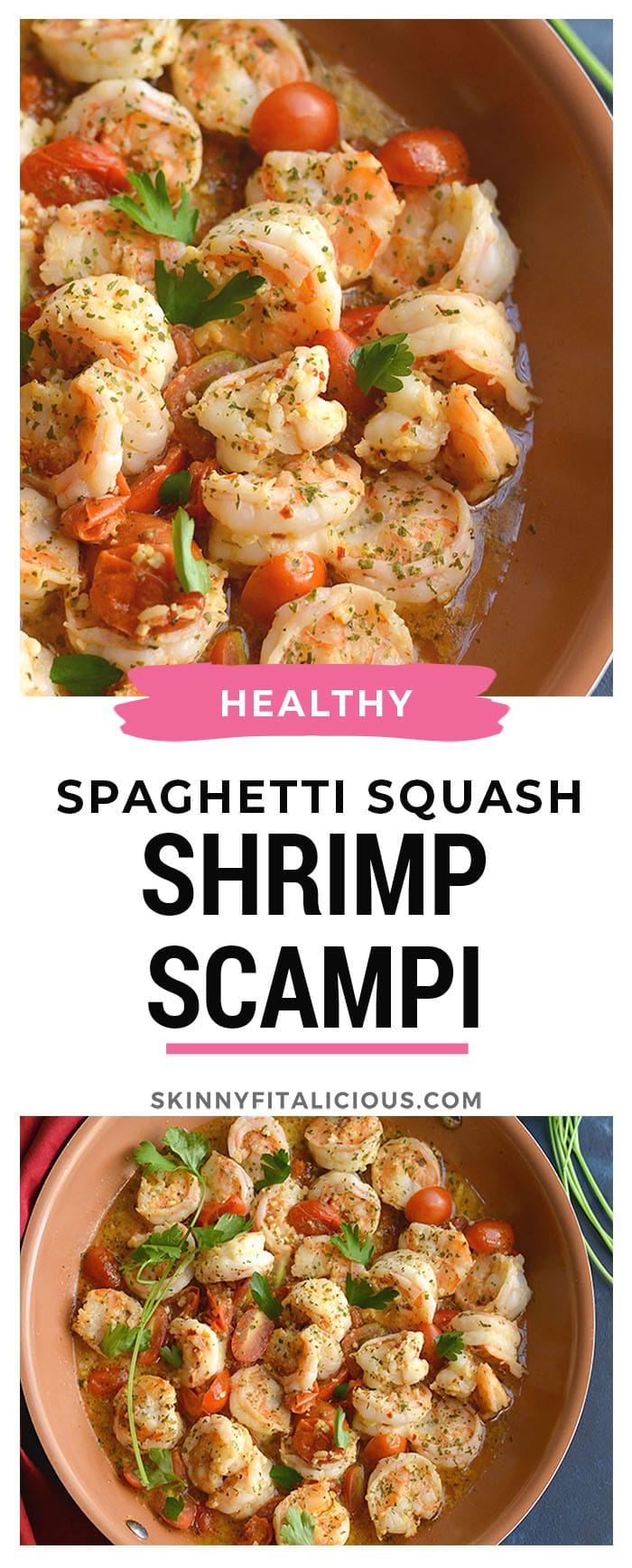 Healthy Shrimp Scampi Spaghetti Squash! Packed with flavor and simple to make. A lower carb meal with more nutrition by replacing pasta and a lightened up sauce with heart friendly ingredients. Gluten Free + Low Calorie