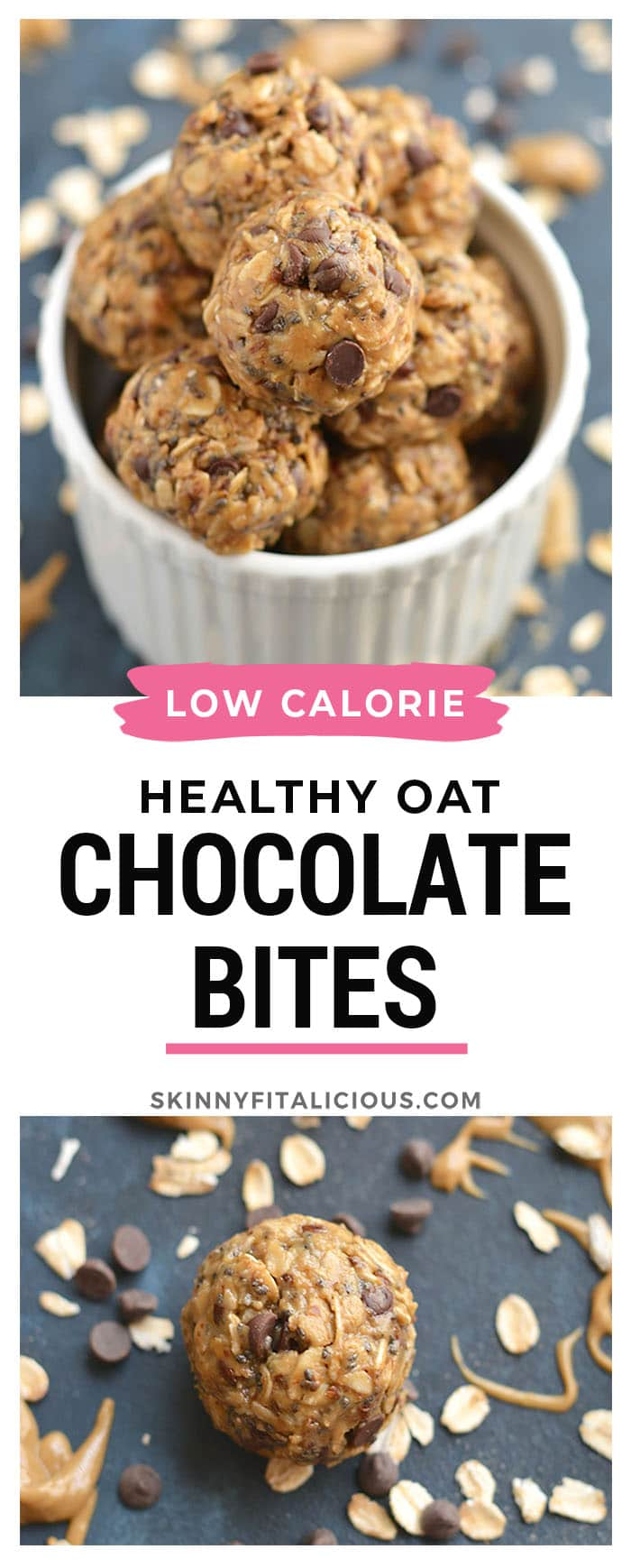 Chocolate Almond Bites made with oats, almond butter, chocolate, flax and chia seeds are a healthy no-bake snack for those with a sweet tooth. The perfect lunchbox friendly snack bite!