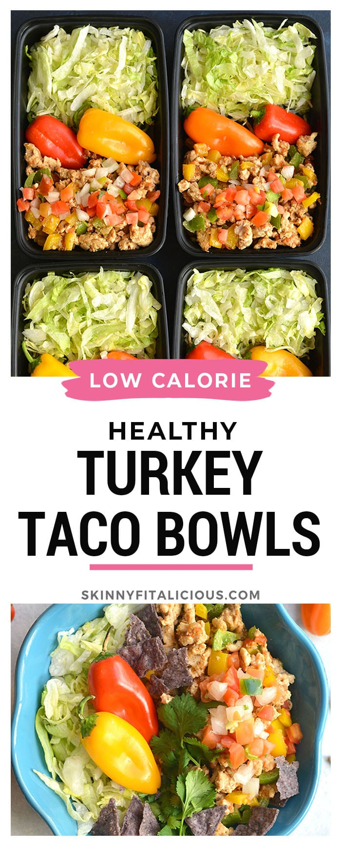 Meal Prep Turkey TacoBowls are a healthier version of takeout that's lower in calories and big on flavor! Made with homemade seasoning for an EASY and filling veggie-protein-packed lunch or dinner.