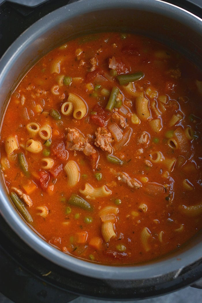 This High Protein Minestrone Soup is the best Instant Pot or slowcooker soup!Simple,healthy, delicious and nutritious. Get ready for an amazing tasting soup! Gluten Free + Low Calorie