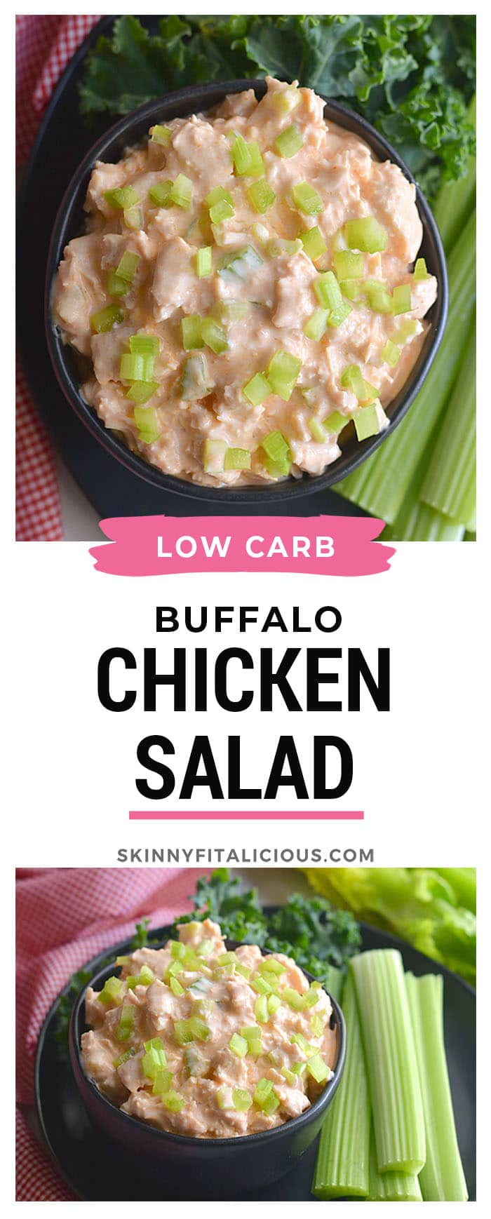 Low Carb Greek Yogurt Buffalo Chicken Salad! High protein and takes minutes to make with low sugar buffalo sauce. An easy meal prep lunch you can toss over a salad, on bread, in a wrap or tortilla. Low Carb + Gluten Free + Low Calorie