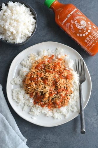 This Everything Bagel Sriracha Chicken recipe is packed with flavor and so simple! Made in an Instant Pot in 30 minutes and so versatile. Pair with rice, add to a salad, sandwich or wrap for a quick meal! Gluten Free + Low Calorie