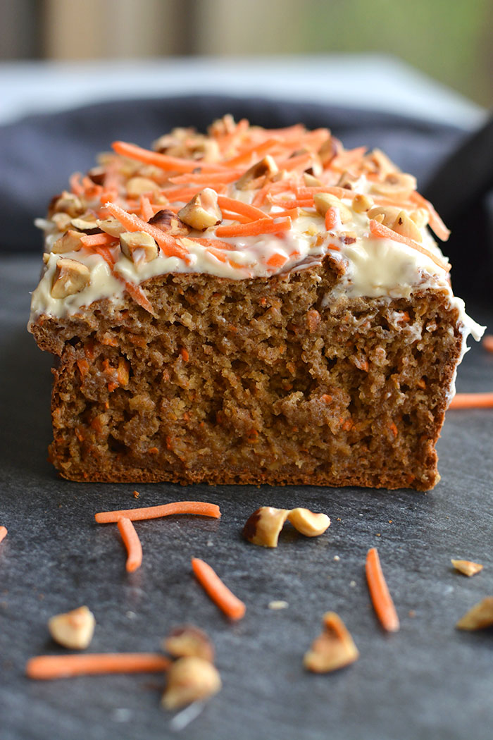 Gluten Free Banana Carrot Cake Bread is a healthier, refined sugar free bread the whole family will love! A one bowl recipe with a few simple ingredients. A wholesome bread for snacking that doubles as a healthier dessert. Gluten Free + Low Calorie