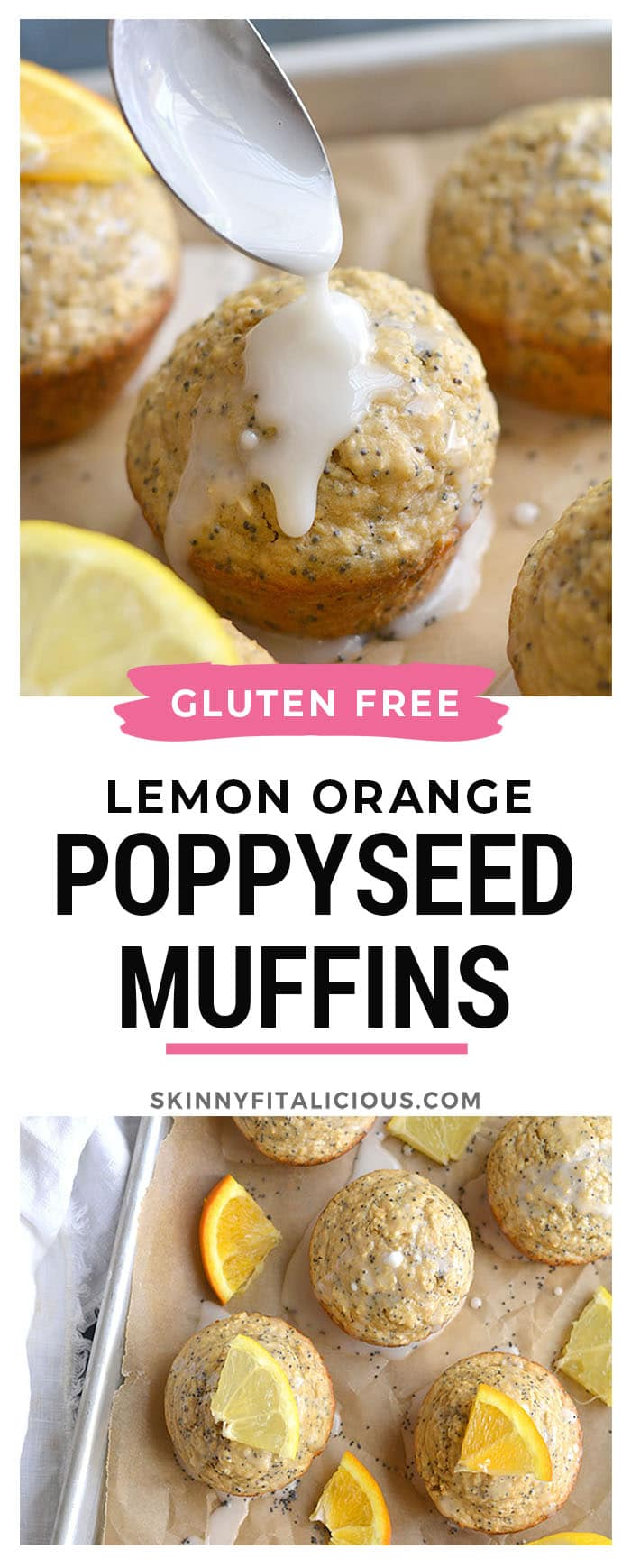 Lemon Orange Poppyseed Muffins! Lightly sweetened, creamy and bursting with citrus flavor. These muffins are quick to make, super soft and are a healthier treat! Gluten Free + Low Calorie