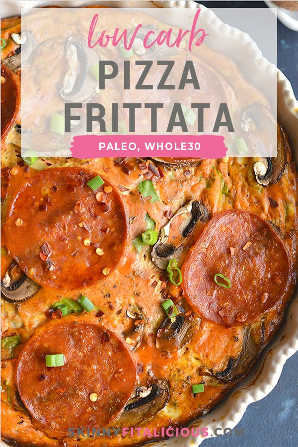 Low Carb Pizza Frittata! An easy crustless egg bake for breakfast, lunch or dinner that tastes like pizza and is packed with veggies. Paleo + Whole30 + Low Carb + Gluten Free + Low Calorie